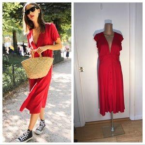 Adorable Red Midi Dress Deep V Neckline